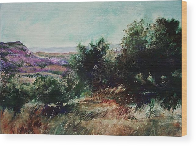 Pastel Wood Print featuring the painting Davis Mountain by Marlene Gremillion