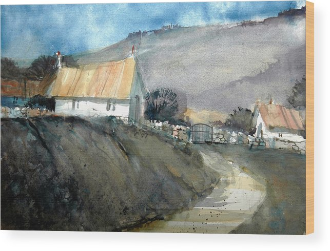 Devon Wood Print featuring the painting Devonshire Farm by Charles Rowland