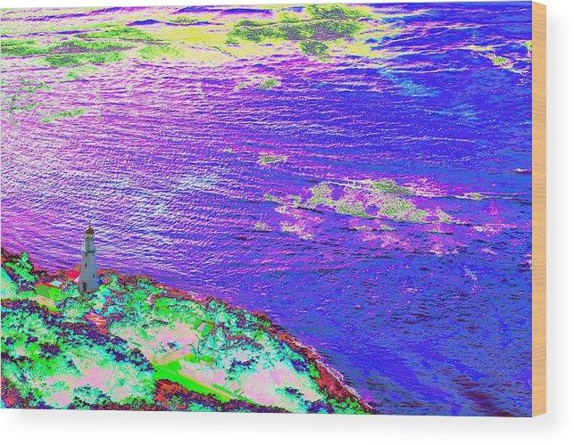 Diamond Head Wood Print featuring the photograph Diamond Point Lighthouse by Richard Henne