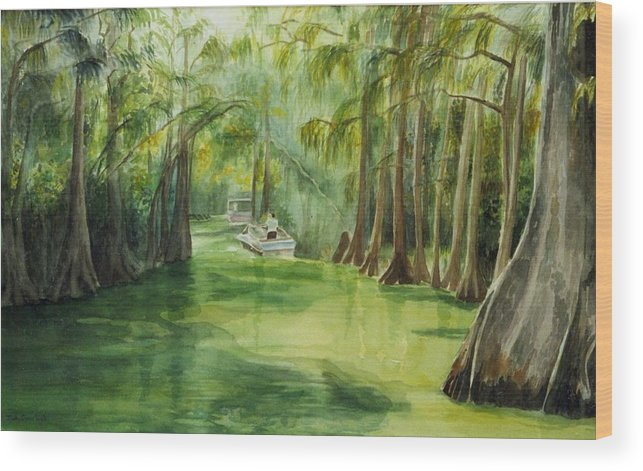 Passage Between Lakes Wood Print featuring the painting Dora Passage by Judy Swerlick