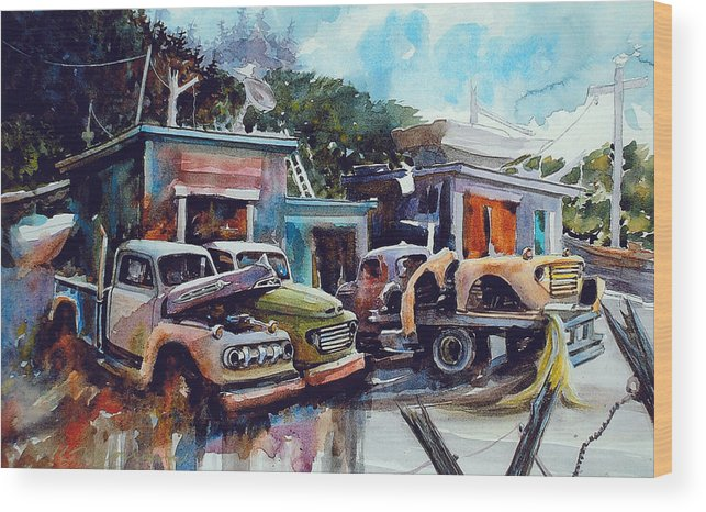 Trucks Wood Print featuring the painting Down on the Lower Road by Ron Morrison