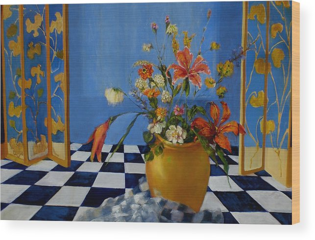 Contemporary Floral Wood Print featuring the painting Dutch Thee Doek by Kathleen Hoekstra