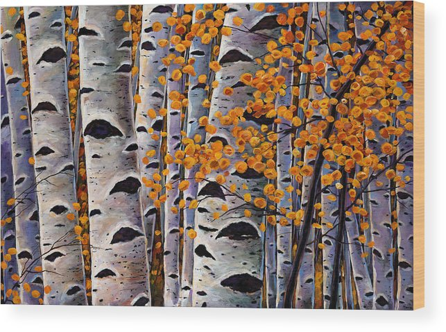 Aspen Wood Print featuring the painting Effulgent October by Johnathan Harris
