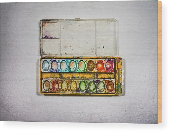 Watercolor Wood Print featuring the photograph Empty Watercolor Paint Trays by Scott Norris