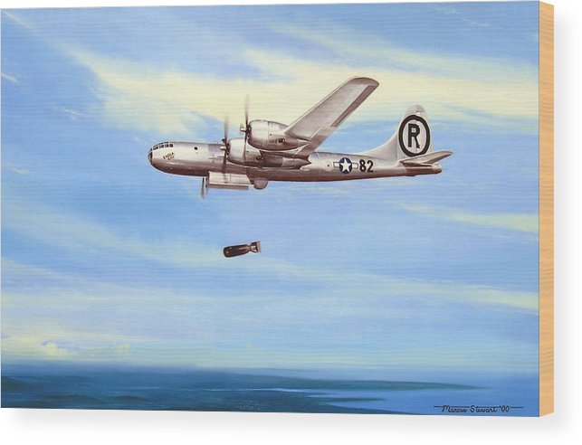 Military Wood Print featuring the painting Enola Gay by Marc Stewart