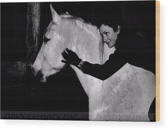 White Horse Wood Print featuring the digital art Erin and Mikey by Dawn Johansen
