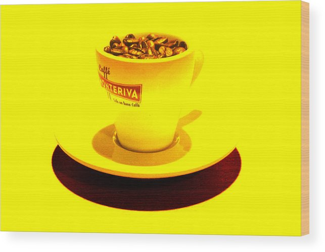 Cafe Wood Print featuring the photograph Expresso.piccolo.giallo by Robert Litewka