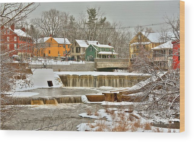 Exeter New Hampshire Wood Print featuring the photograph Falls on Exeter River by Diana Nault