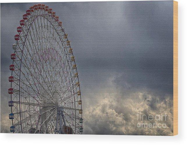 Cloud Wood Print featuring the photograph Ferris Wheel by Tad Kanazaki
