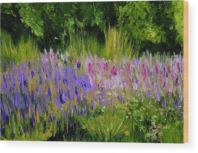 Konkol Wood Print featuring the painting Fields of Purple by Lisa Konkol