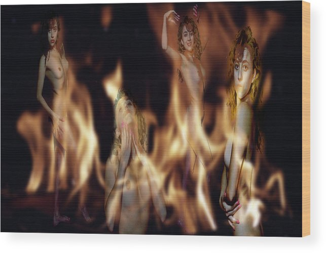 Multiple Exposure Of Model And Flames Wood Print featuring the photograph Flame Nymphs by Richard Henne