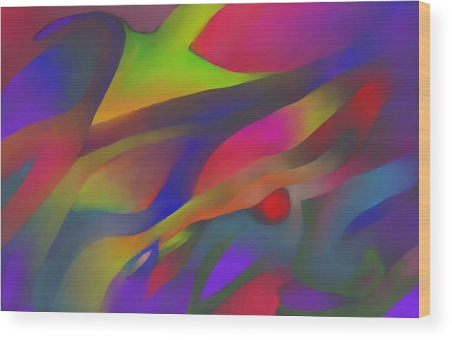 Colorful Wood Print featuring the digital art Flowing Energies by Peter Shor