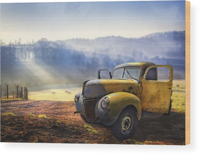 Appalachia Wood Print featuring the photograph Ford in the Fog by Debra and Dave Vanderlaan