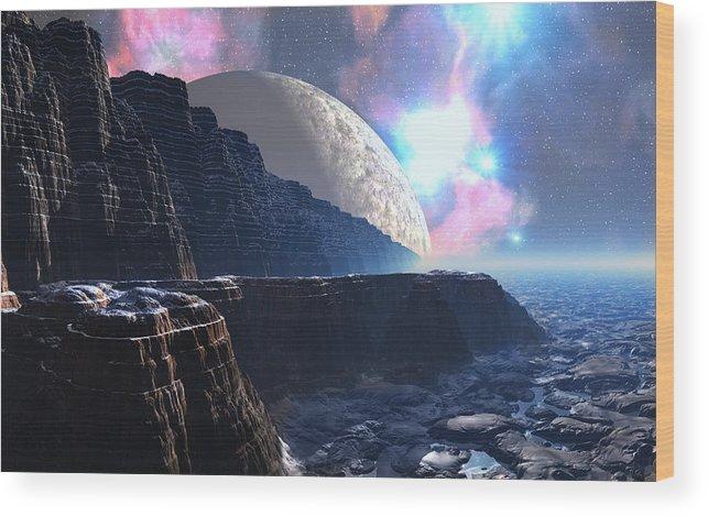David Jackson Fortress Of Nimmbl Alien Landscape Planets Scifi Wood Print featuring the digital art Fortress of Nimmbl by David Jackson