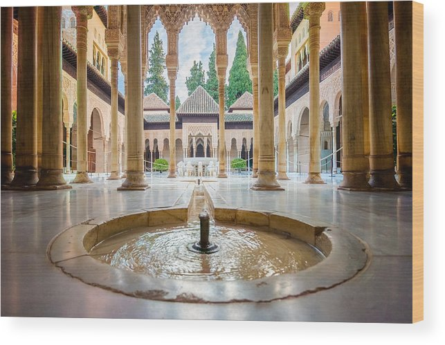 Alhambra Wood Print featuring the photograph Fountain Of Lions At The Alhambra by Adam Rainoff