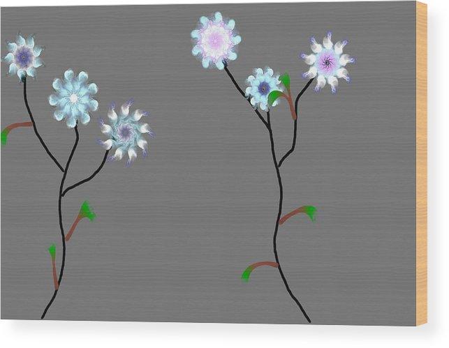 Digital Painting Wood Print featuring the digital art Fractal Floral 10-21-09 by David Lane