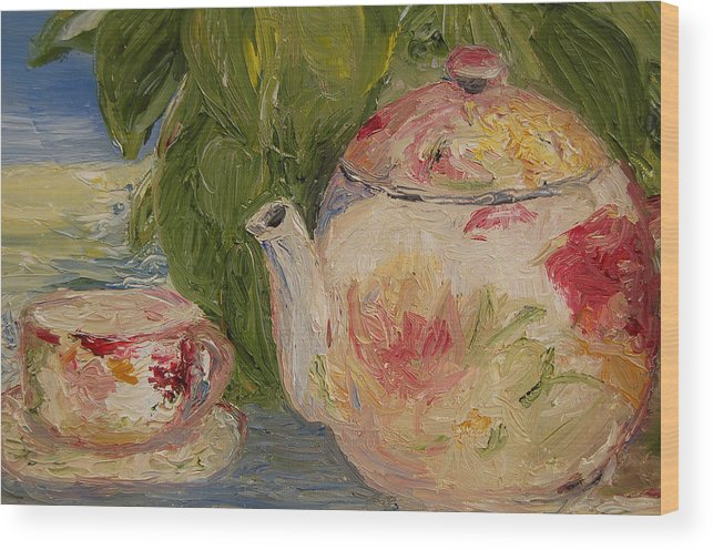 Konkol Wood Print featuring the painting French Teapot by Lisa Konkol