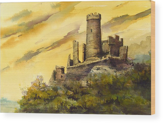 Castle Wood Print featuring the painting Furstenburg On The Rhine by Sam Sidders