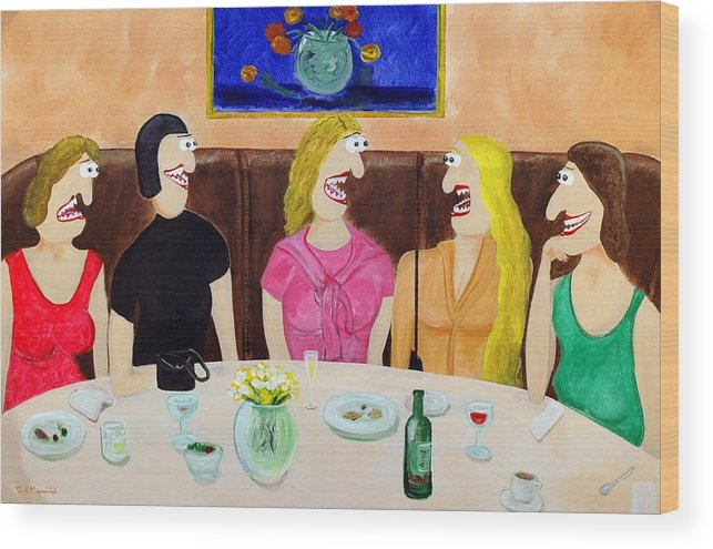 Funism Paintings Wood Print featuring the painting Girls Night Out by Sal Marino