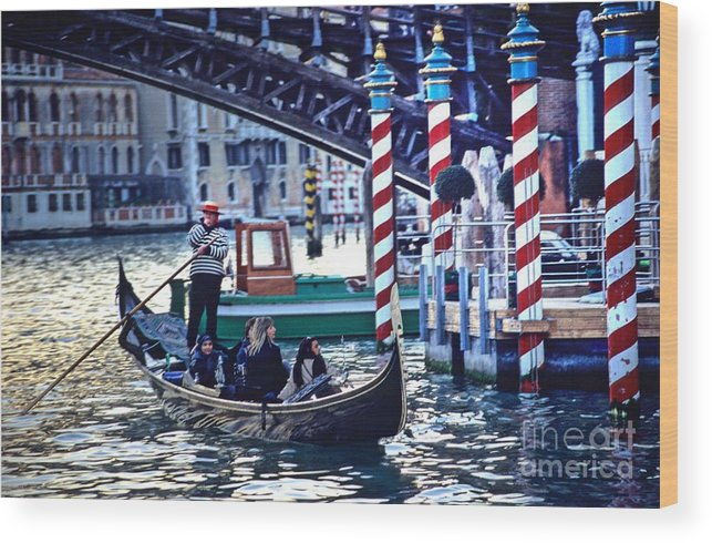 Venice Wood Print featuring the photograph Gondola in Venice on Grand Canal by Michael Henderson