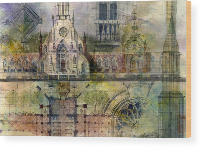 Gothic Wood Print featuring the painting Gothic by Andrew King