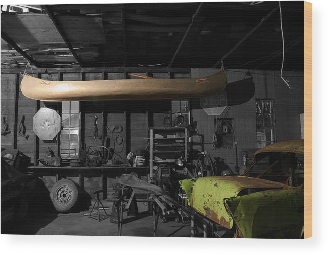 Rural Wood Print featuring the photograph Grandfathers Garage by Dylan Punke