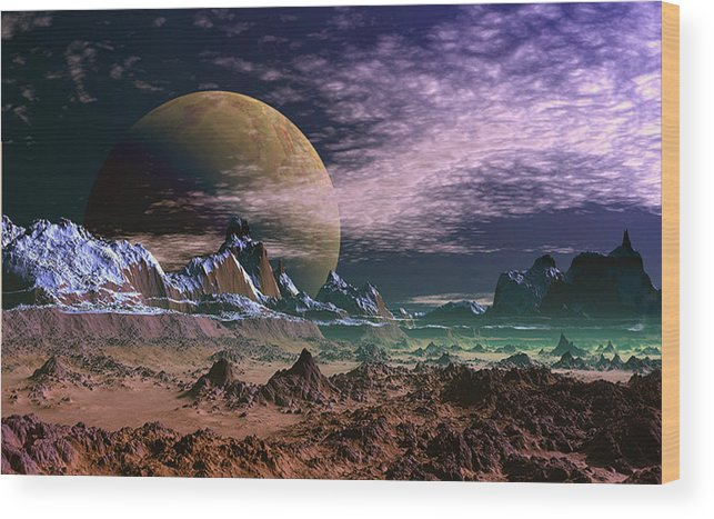 David Jackson Great Moona Alien Landscape Planets Scifi Wood Print featuring the digital art Great Moona. by David Jackson