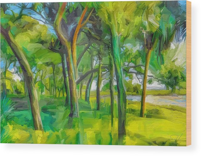 Green Shore Trees Landscape Florida Trees Wood Print featuring the digital art Green Shore Trees by Scott Waters