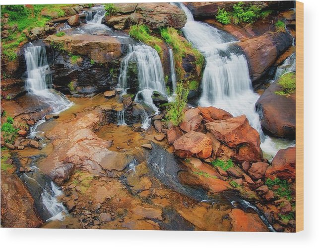 Nature Wood Print featuring the photograph Greenville's Reedy River Falls, South Carolina by Zayne Diamond Photographic