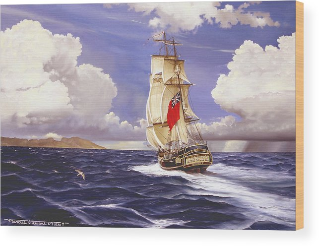 Marine Wood Print featuring the painting H. M. S. Bounty At Tahiti by Marc Stewart