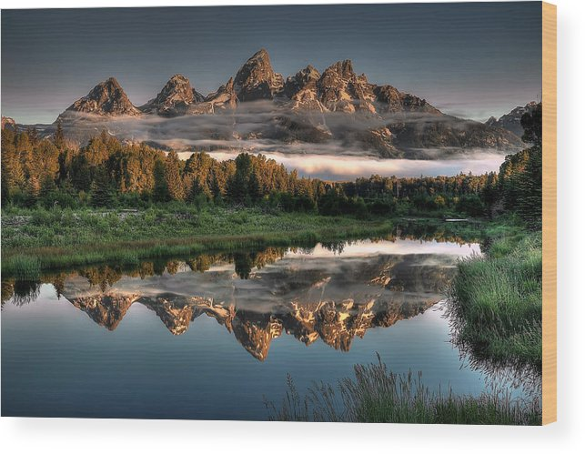 Schwabacher Landing Wood Print featuring the photograph Hazy Reflections at Scwabacher Landing by Ryan Smith