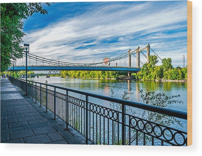 Hennepin Avenue Bridge; Bridge; Mississippi River; St. Anthony Riverplace; Minneapolis Wood Print featuring the photograph Hennepin Avenue Bridge by Lonnie Paulson