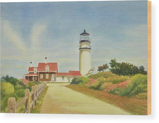 Lighthouse Wood Print featuring the painting Highland Lighthouse Cape Cod by Phyllis Tarlow