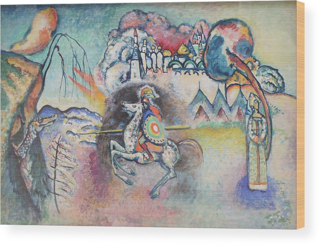 Wassily Kandinsky Wood Print featuring the painting Horseman. St. George by Wassily Kandinsky