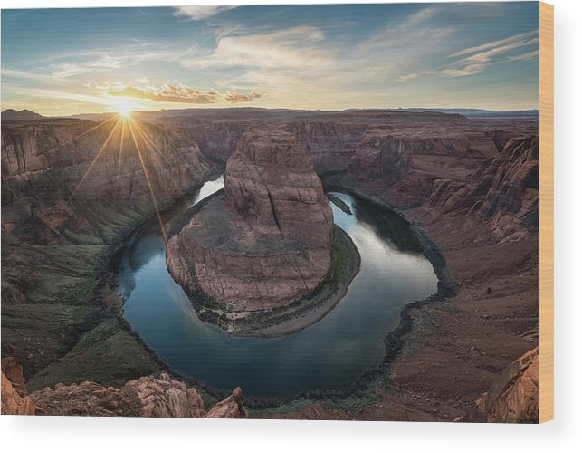 Arizona Wood Print featuring the photograph Horseshoe Bend Sunset by James Udall