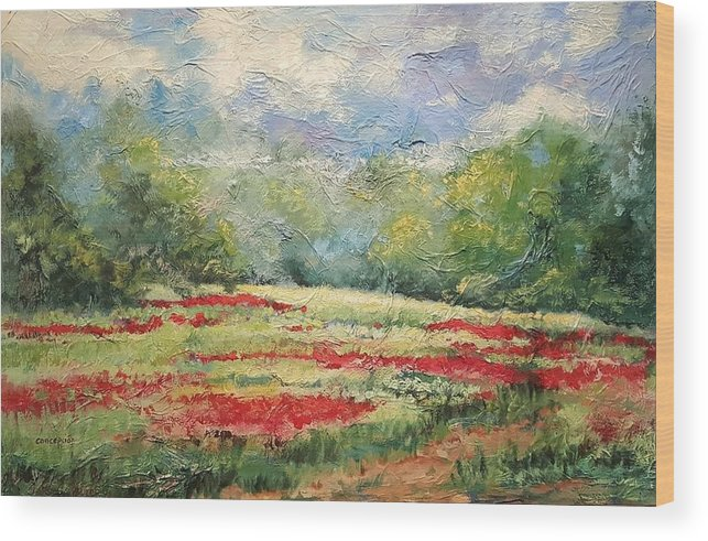 Clover Pastures Wood Print featuring the painting Into the Clover by Ginger Concepcion