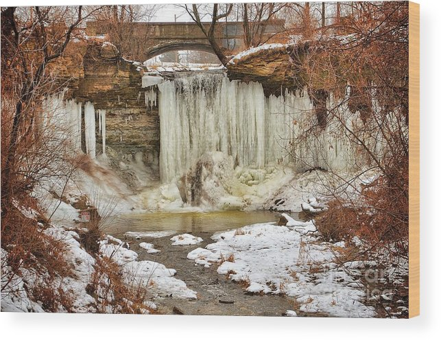 Green Bay Wood Print featuring the photograph January Melt at Wequiock Falls by Ever-Curious Photography