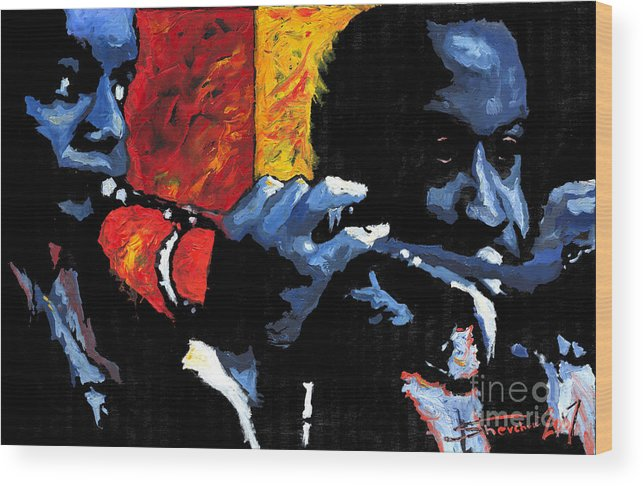 Jazz Wood Print featuring the painting Jazz Trumpeters by Yuriy Shevchuk