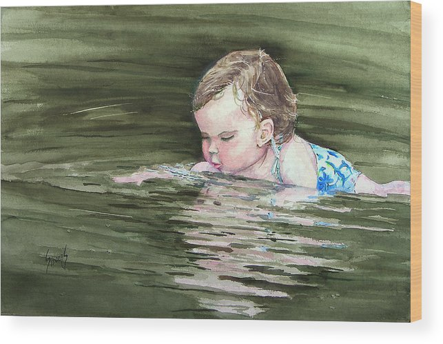 Child In River Wood Print featuring the painting Katie Wants A River Rock by Sam Sidders