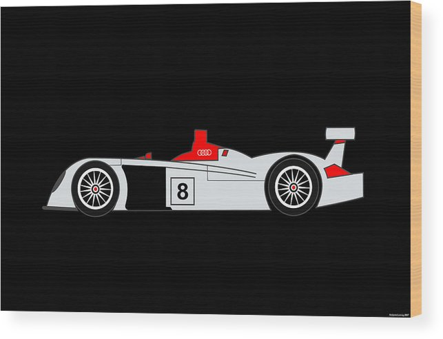 Audi Wood Print featuring the digital art Le Mans Audi R8 by Asbjorn Lonvig