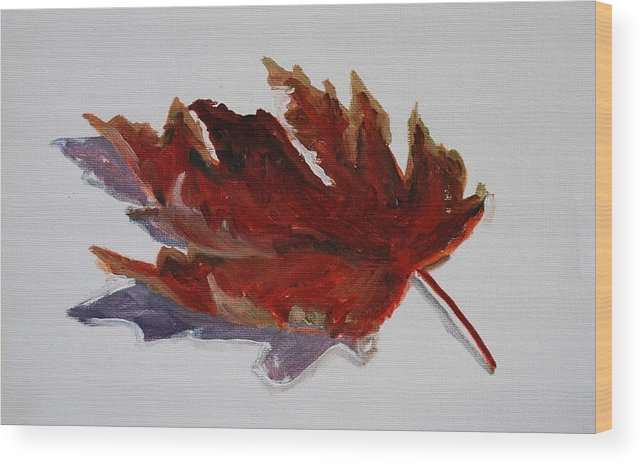 Fall Leaf Wood Print featuring the painting Leaf Study by Billie Colson
