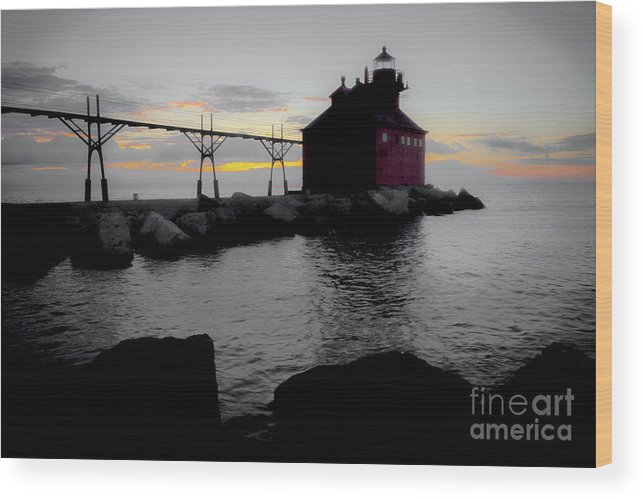 Door County Wood Print featuring the photograph Lighthouse Haze by Ever-Curious Photography