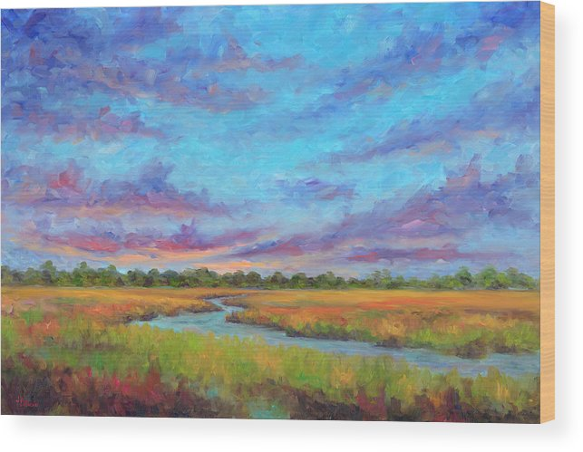 Folly Beach Wood Print featuring the painting Marsh view from Morris Island - Folly Beach by Jeff Pittman
