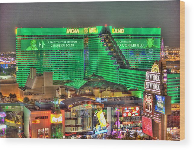 Mgm Grand Wood Print featuring the photograph MGM Grand Las Vegas by Nicholas Grunas