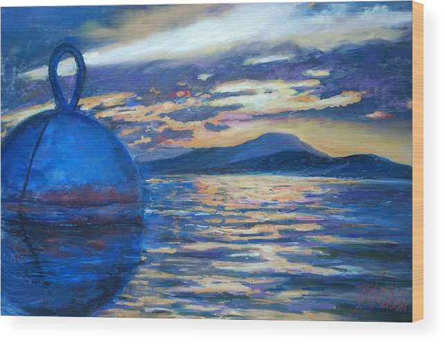 Seascape Wood Print featuring the painting Moaring Ball Overlooking St. John by Billie Colson