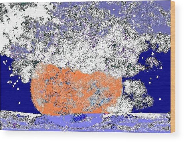 Wood Print featuring the digital art Moon Sinks Into Ocean by Beebe Barksdale-Bruner