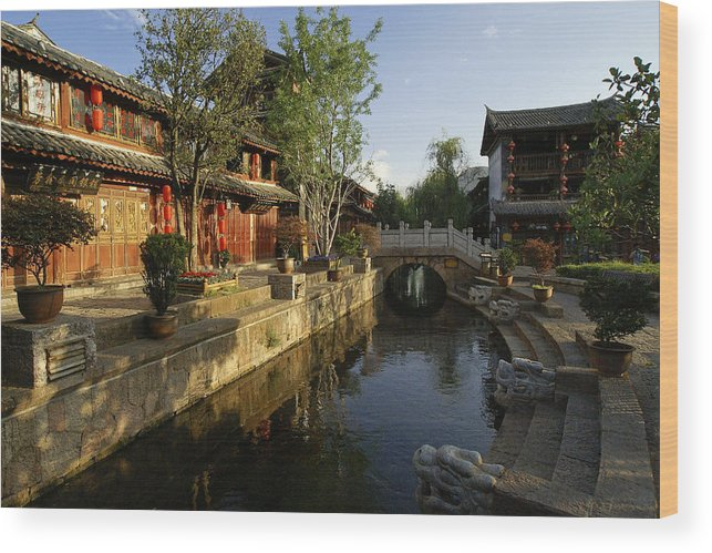 Asia Wood Print featuring the photograph Morning Comes to Lijiang Ancient Town by Michele Burgess