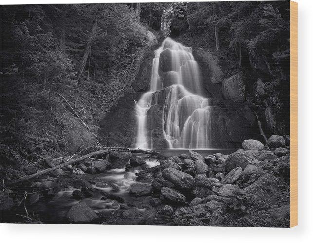 Moss Glen Falls Wood Print featuring the photograph Moss Glen Falls - Monochrome by Stephen Stookey