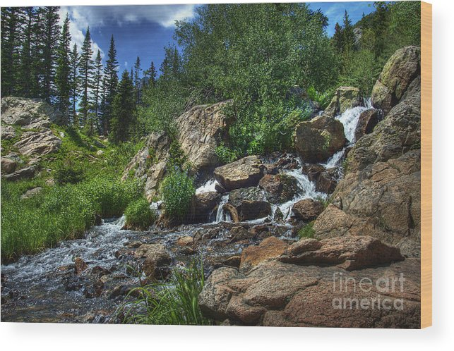 Landscape Wood Print featuring the photograph Mountain Stream 3 by Pete Hellmann