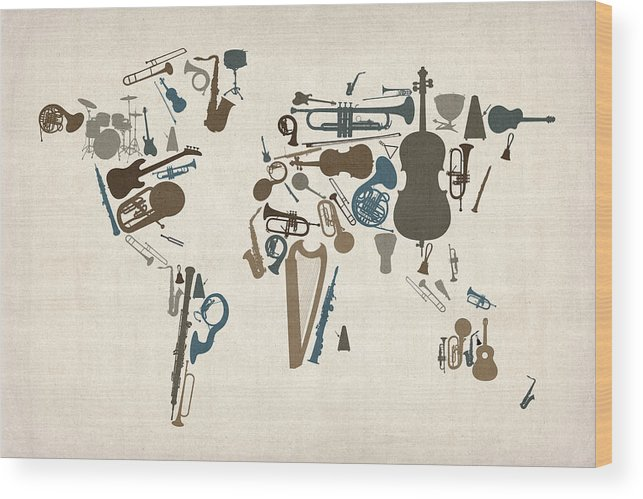 World Map Wood Print featuring the digital art Musical Instruments Map of the World Map by Michael Tompsett